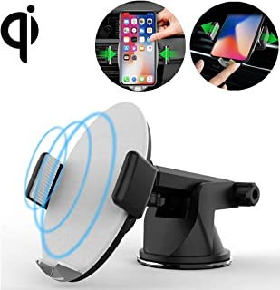 LZSUS for M11 Desktop Phone Holder 10W Max Fast Charging Qi Smart Wireless Charger Pad, for iPhone, Galaxy, Huawei, Xiaomi, LG, HTC and Other Smart Phones(Black) (Color : Grey)