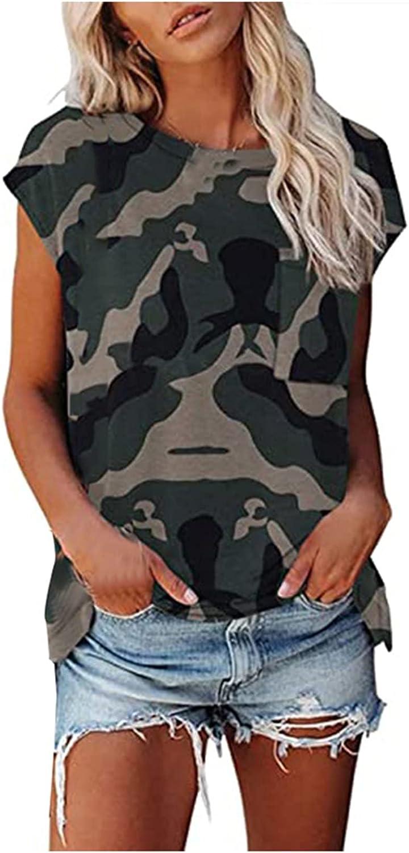 Women's Casual T Shirt Tank Tops Crewneck Short Sleeve Leopard Summer Tee Shirts Pockets