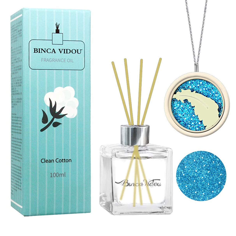 提唱する必須パシフィックリードディフューザーコットンの香り+メタリックオイルネックレス、Binca Vidouアロマオイルディフューザーセット、ナチュラルスティックのベッドルームバスルームオフィスギフト100ml / 3.4oz