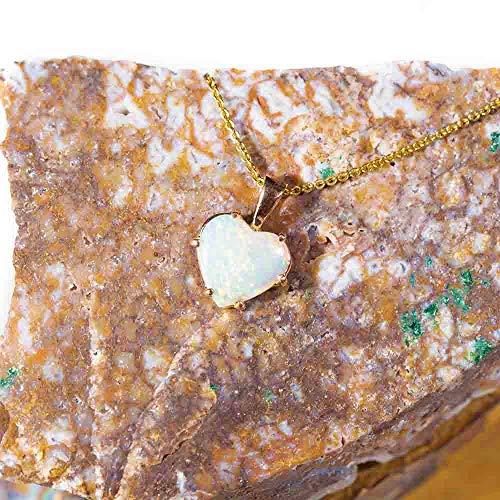 Captivating Love 14KT Gold Australian Heart Shaped Opal Necklace