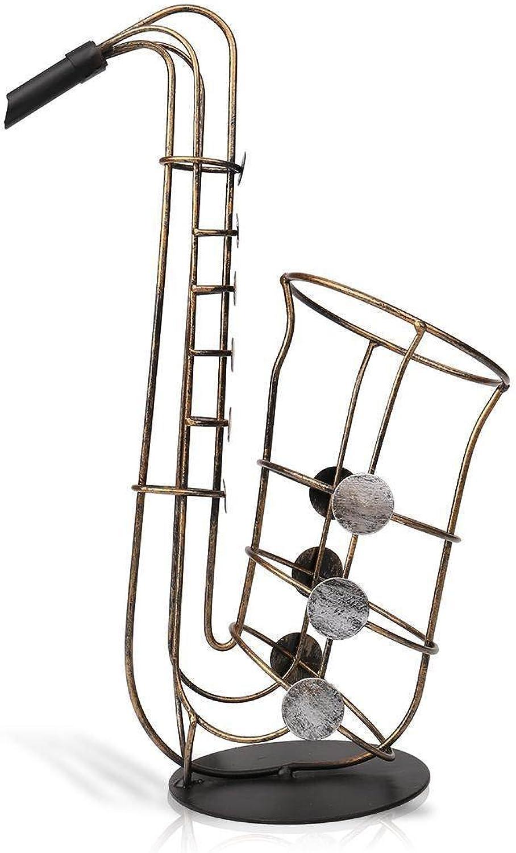 ventas en linea LYQZ Estante del Vino Vino Vino Creativo Decoración del Hogar Moderno Decoración De Metal Artesanía Regalo Estante del saxofón  venta caliente