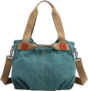 PB-SOAR Damen Mädchen Vintage Canvas Stylische Handtasche Schultertasche Umhängetasche Henkeltasche 35 x 28 x 22cm (B x H ...