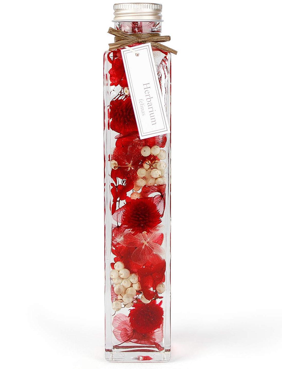 [フェリナス] ハーバリウム 角瓶(1本) レッド(赤) ギフト 贈り物 誕生日 記念日 特別 敬老の日 kaku-red