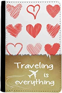 Valentine's Day Hearts Lines Sketch Traveling quato Passport Holder Travel Wallet Cover Case Card Purse