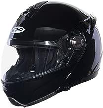 Sedici Sistema Flip Up Drop Down Sun Shield Vented DOT Sport Touring Street Bike Motorcycle Modular Helmet - Black LG