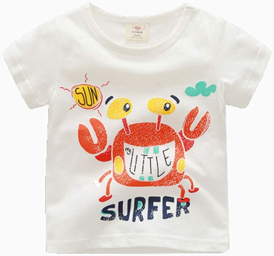 Short-Sleeved t-Shirt Summer Clothes Boys and Girls Kid's Cartoon Round Neck top Cotton Cotton T-Shirt Suitable for Kid with a Height of 90CM-140CM Soft (Color : D, Size : 110CM)