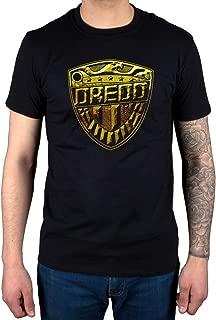 AWDIP Men's Official Judge Dredd Logo T-Shirt Gold Shield Comic Book Film Movie
