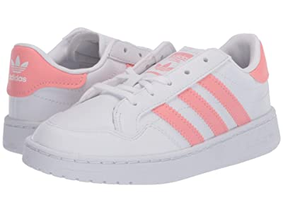 adidas Originals Kids Team Court (Little Kid) (White/Glory Pink/Black) Girl
