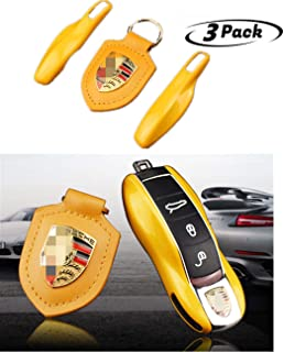 American shop g Smart Protection Keyless Remote Control Key Box Housing Car Key Box Flat Cover Side Blade Compatible with Cayenne Caman Panamera (Yellow 1 Key Ring + 1 Housing Cover)
