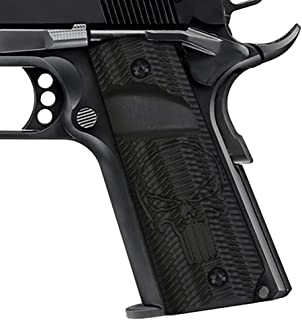 Cool Hand 1911 G10 Grips Big Scoop Ambi Safety Ridges with Punisher Skull Texture Free Screws H1-P2BP-1, Black, Full Size