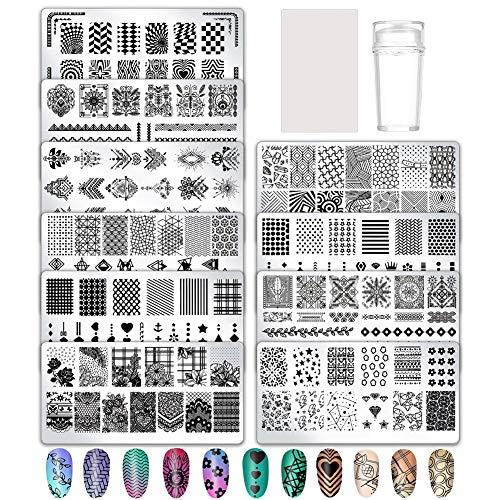 Firtink 11 Pcs Nail Art Plates Nagelstempel Maniküre Tool Kit für Maniküre DIY Image Drucken Nageldesign Nagel Transfer Werkzeuge
