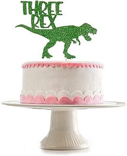 Glittery Dinosaur Three Rex Cake Topper for 3rd Third Birthday,Dinosaur Theme Birthday Decorations