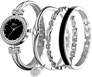 Women's Wristwatch & Bangle Set, Dress Watch and Goldtone Crystal Bracelet Ladies by Bravetoshop