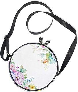 Emoya Runde Tasche, lila Aquarell-Blume, Segeltuch, Umhängetasche für Damen/Mädchen