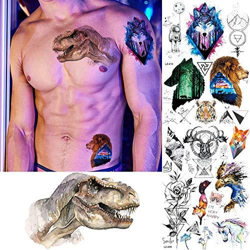 3 Stück Muskel Männer Cool Temporäre Tattoo Aufkleber Jurassic Dinosaurier Galaxie Wolf Fake Tattoos Frauen Kunst Wasserdicht Tattoo Drache