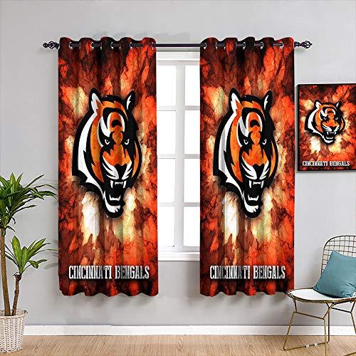 American Tootball Team Personalizado Chid Cortinas Cinc-innati Beng-als Cortinas opacas diseño personalizado habitación oscurecimiento ancho cortinas W55 x L63