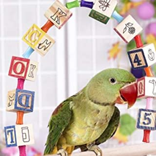 Rubyyouhe8 Bird Accessories&Colorful Blocks Letter Parrot Climbing Swing Bell Perch Bird Pet Toy Cage Decor - Random Color Colorful Bird Parrot Toys Hanging Toy for Parakeets Cockatiels Small Pet