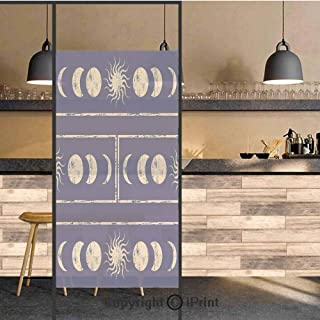 3D Decorative Privacy Window Films,Grungy Display Ethnic Design of Planetary Sun Moon Phases of Mystery Decorative,No-Glue Self Static Cling Glass film for Home Bedroom Bathroom Kitchen Office 17.5x I