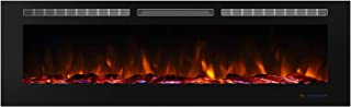 Valuxhome 72 Inches Recessed Electric Fireplace Heater, Remote Control, Timer and Thermostat Setting, Logset and Crystal, 1500W, Black