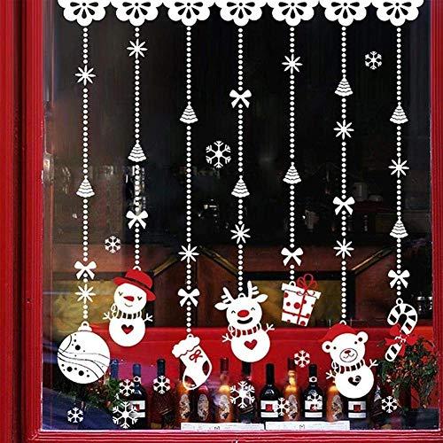 cooldeerydm Kerstmis Sneeuwman Kralen Gordijn Muursticker Venster Glas Decal DIY Holiday Decor Muursticker Kamerdecoratie