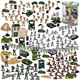 300-Piece Army Action Figures Set, Military Toy Soldier Playset Tanks, Planes, Flags Battlefield Accessories Party Display
