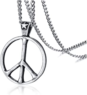 HUANIAN Stainless Steel Classic Peace Sign Love Hippie Pendant Necklace, 24 inch Chain