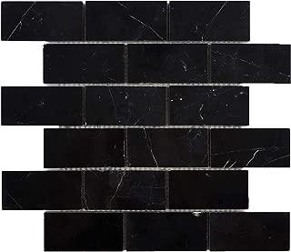 Nero Marquina Black Marble Brick Mosaic Tile 2'' X 4'' Polished