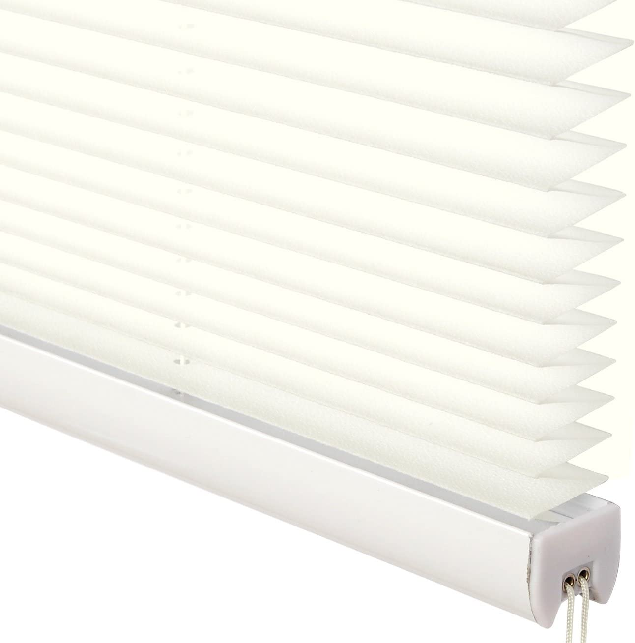 WOLTU Pleated Blinds Polyester No Drilling Easy Fix Pleated Shades Instant Temporary Privacy Blinds for Window or Door Frosted Glass Pattern 50x100cm White