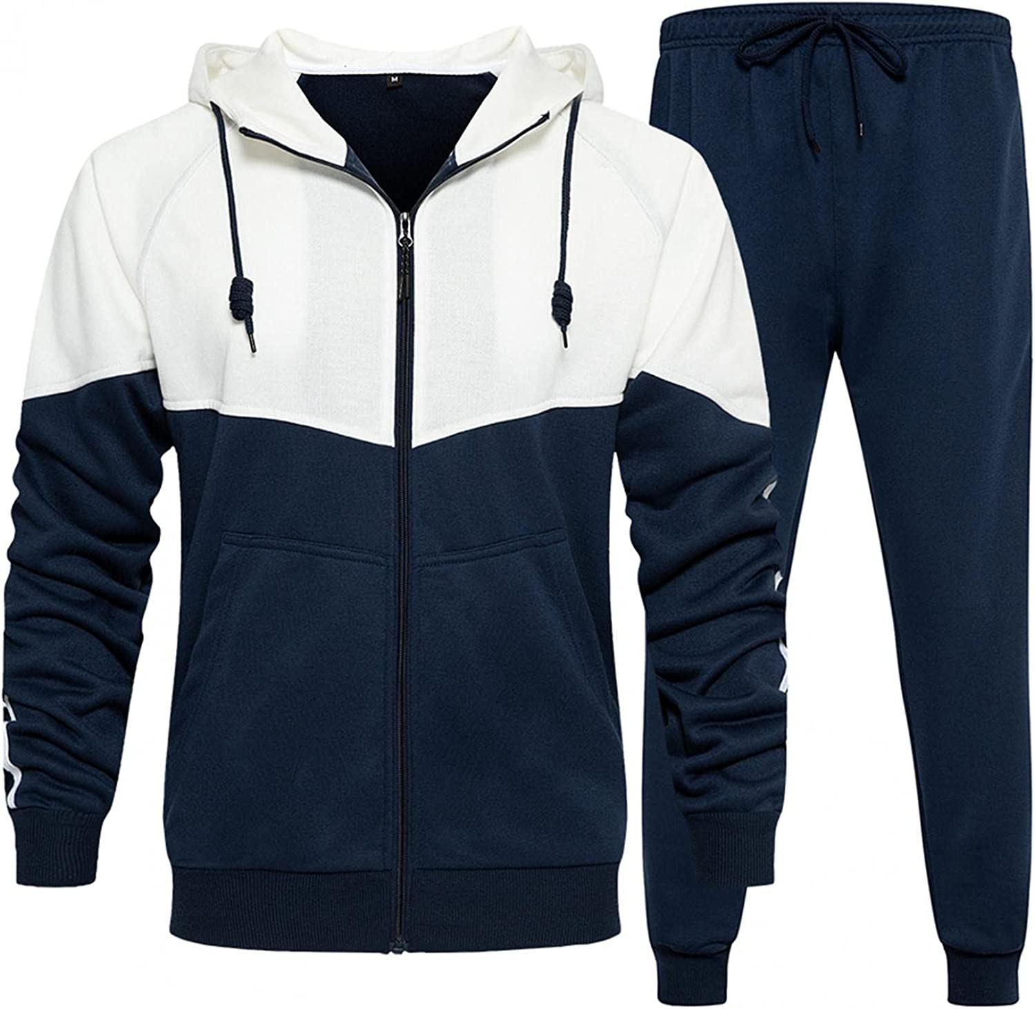 Men's 2 Piece Tracksuits Novelty Patchwork Hooded Coat & Long Pants Casual Running Jogging Athletic Sportwear Outfits