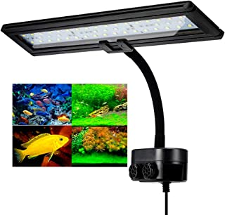 Hygger Aquarium Fish Tank Light, White and Blue LEDs, Clip on Led Clamp Light for Aquarium Lighting, with Adjustable Clip Fits on Rimless or Black Rim Tank