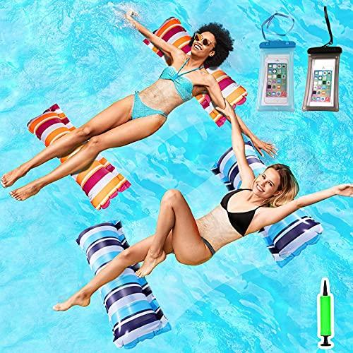 Wasserhängematte Luftmatratze, 4-in-1 Aufblasbares Schwimmbett, 2PCS hängematte Pool Erwachsene, Wasser Schwimmliege mit wasserdichte Handytasche und Manuelle Luftpumpe