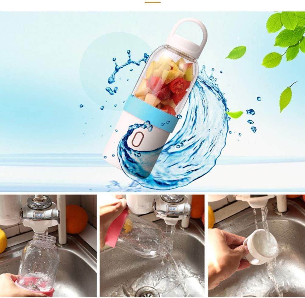 Mezclador Pequeño Jugo Doméstico Taza Extractor de Jugo de Frutas Mezcladores de Carga Usb Portátil 6 Pcs Cuchillas, O&YQ, Azul Azul