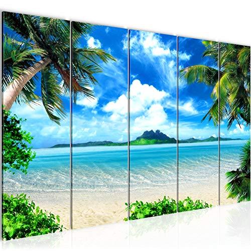 Bilder Strand Palmen Wandbild 200 x 80 cm Vlies - Leinwand Bild XXL Format Wandbilder Wohnzimmer Wohnung Deko Kunstdrucke Blau 5 Teilig - MADE IN GERMANY - Fertig zum Aufhängen 603355a