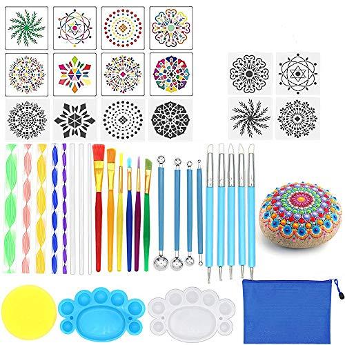 Opaltool 35 Stück Mandala Rock Punktierung Werkzeuge Malerei Werkzeuge Schablone Mandala Malwerkzeug Farbwanne Pinsel für Stein Malerei Polymer Clay Keramik Nail Zeichnen Kunst Handwerk Prägung