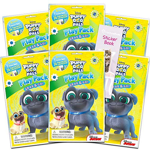 Disney Puppy Dog Pals Party Favors Pack ~ Bundle of 6 Puppy Dog Pals Play Packs Filled with Stickers, Coloring Books, Crayons with Bonus Bookmarks and Stickers (Puppy Dog Pals Party Supplies)