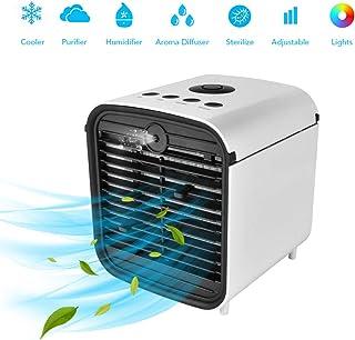 Hisome Enfriador de Aire Portátil 4 en 1, Humidificador, Purificador y Difusor de Aroma, Refrigerador Evaporativo con Tanque de Agua, 3 Velocidades Ajustables y 7 Luces LED para el Hogar y la Oficina
