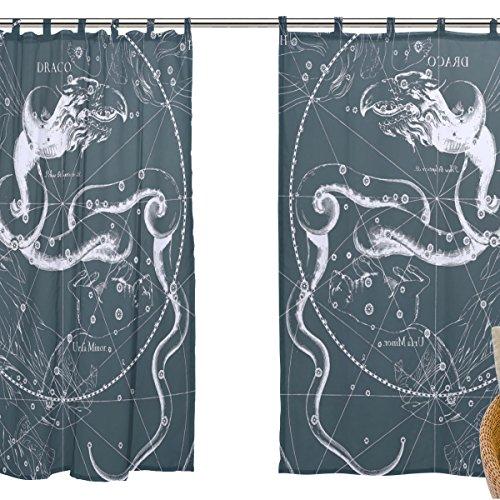 jstel 2Pcs Voile Fenster Vorhang, Fantasy Sternbild Graph Draco, Tüll Sheer Vorhang Tuch Querbehang 139,7x 198,1cm Zwei scheibenelementen Set