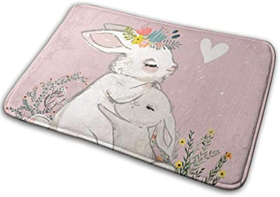 "Cute Hare with Child Floor Rug Indoor/Front Door Mats Home Decor Rubber Non Slip Backing 23.6""(W) X 15.8""(L)"
