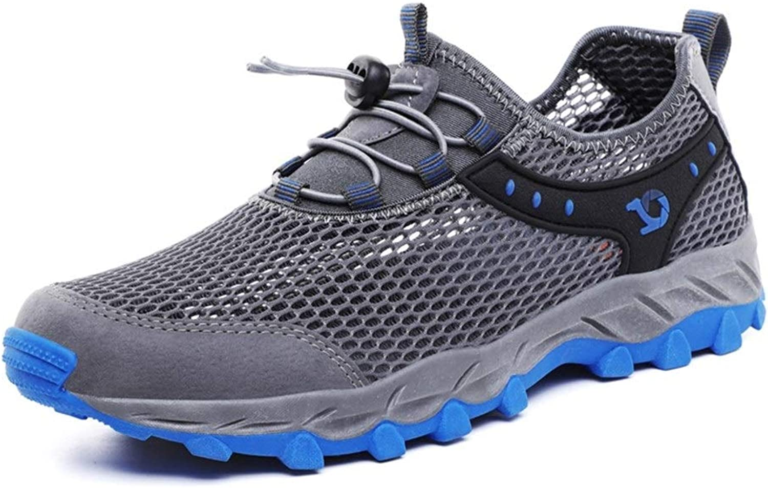 YI-WAN Non-Slip Athletic shoes Soft-Soled Men Sports shoes Lace Up Style Leisure Fashion Hollow Out Mesh Material Fresh and Breathable Anti-Collision Toe Comfortable