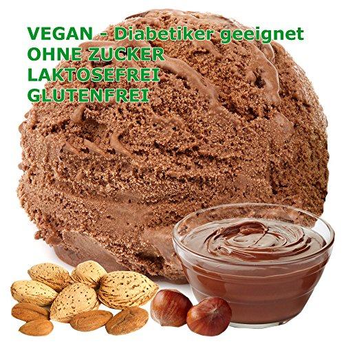 Mandel Nougat Geschmack Eispulver VEGAN - OHNE ZUCKER - LAKTOSEFREI - GLUTENFREI - FETTARM, auch für Diabetiker Milcheis Softeispulver Speiseeispulver Gino Gelati (Mandel Nougat, 333 g)