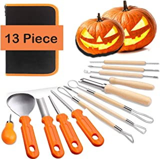 Halloween Pumpkin Carving Tools Kit - 13 Piece Halloween Jack-O-Lanterns Professional Heavy Duty Pumpkin Cutting Carving Knife Supplies Tools with Storage Carrying Case for FamilyKids Adult