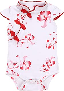 Fairy Baby Baby Girls Cheongsam Dress Short Sleeve Chinese Qipao Bodysuit Romper Floral Costume Clothes