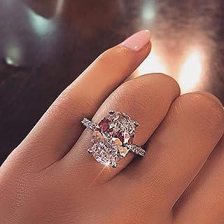 خاتم فضة استرليني 925 بيضوي مثالي قطع 3 قيراط مكعب زركونيا خواتم تشيكوسلوفاكيا إترنتي خاتم الخطوبة الزفاف للنساء