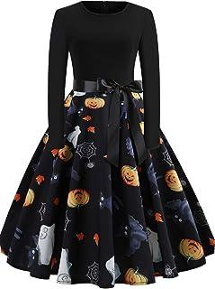 Halloween Dresses Womens Long Sleeve Cocktail Swing Dress Skeleton Pumpkin Printed Cosplay Party Costume