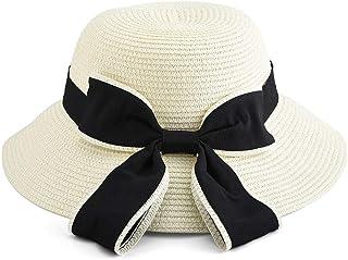 Vathery Cappello da Sole di Paglia Estivo con Fiocco per Donna, Cappelli da Spiaggia Pieghevole, Cappello Tesa Larga Impacchettabile per Vacanze Festa Viaggia (Bianco)