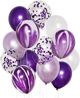 JOJO FLY 50 Pcs 12 Inch Purple Balloons Set Purple Confetti Lavender and White Latex Balloons Helium Balloons for Wedding Birthday Party Decoration Balloon Garland Arch Purple Theme Graduation