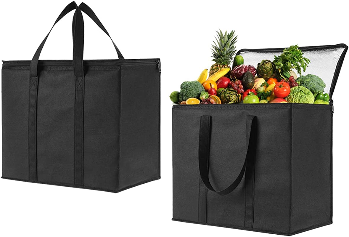 2 Pack Insulated Reusable Grocery Bag By VENO Durable Heavy Duty Extra Large Size Stands Upright Collapsible Sturdy Zipper Made By Recycled Material Eco Friendly BLACK 2