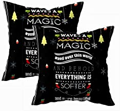 EMMTEEY Christmas Pillow Covers,Merry Christmas Throw Pillow Cover Christmas Quote Waves Magic Wand Over This World and Everything Softer More Beautiful 18x18 Pack 2 Christmas Holiday Pillow Covers