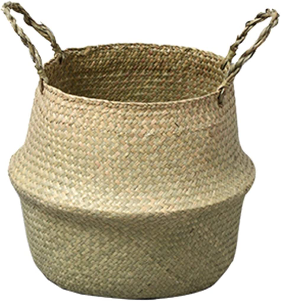 puseky Woven Straw Basket Seagrass Storage Plant Pot Cover with Handles for Laundry
