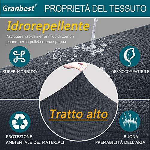 Granbest Copridivano 3 Posti Elasticizzato Impermeabile Divano Protector in Tessuto Super Morbido Fodere Divano Universale per Gatto Cani (Divano, Grigio)